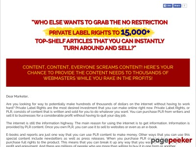 15000 Private Label Articles! Just 19.89$ by MarketPLR.com