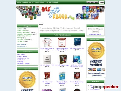 OneBuckEbok.com $1 Resell Rights & Private Label Rights Products, Private Label Rights Ebooks - Resale Rights Products for $1 only.